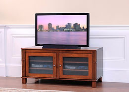 Arlington TV Stand with 2 Glass Doors | Brown Maple in Coffee OCS226 | 50in W x 22 3/4in D x 24in H | The Amish Home | Amish Furniture at the Pittsburgh Mills