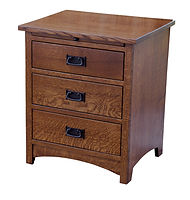 Empire Mission 3 Drawer Nightstand|Quartersawn White Oak in Michaels OCS113|24 3/4in W x 20 3/4in D x 29in H|The Amish Home|Hardwood Furniture at the Pittsburgh Mills