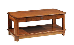 Franchi Coffee Table | Fluted beveled leg styling.  One flush inset drawer, open bottom shelf. | Rustic Cherry in Boston OCS111 | 42in W x 22in D x 18in H | The Amish Home | Amish Furniture at the Pittsburgh Mills