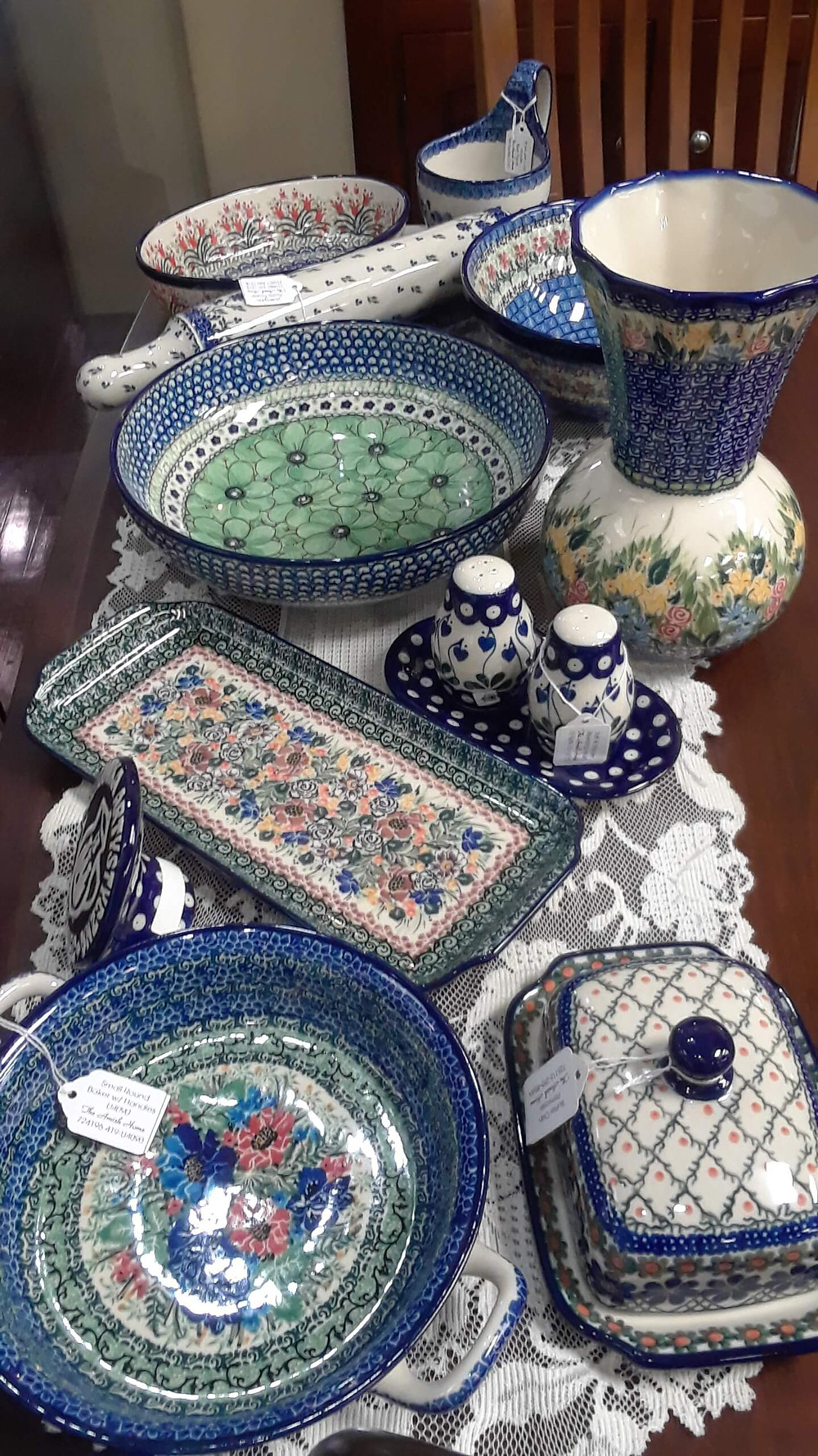 Handmade Polish Pottery at The Amish Home in the Pittsburgh MIlls
