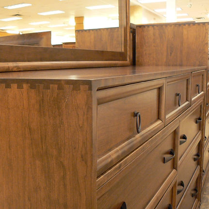 New On Display Glendale Tall Dresser  Solid Rustic Cherry in Medium OCS110 66in W x 19in D x 41in H Solid Hardwood Furniture Made in the USA The Amish Home Furniture in Pittsburgh Mills