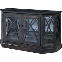 Marlo Angled Console Curio | 2 adjustable shelves with plate groove, glass top, mirror back, clear glass, 2 LED touch lights, no lock | Brown Maple in Antique Slate OCS118 | 52in W x 19 7/8in D x 30in H | The Amish Home | Amish Furniture at the Pittsburgh Mills