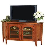 Wayne's Shaker Corner TV Stand|Oak in Michaels OCS113|55in W x 20in D x 31in H, 39 1/2in wall space|The Amish Home|Amish Furniture at the Pittsburgh Mills