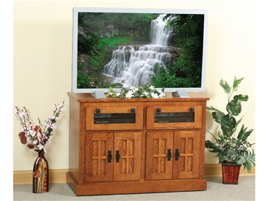 The H&G Wood Mission TV Stand is shown in quartersawn white oak