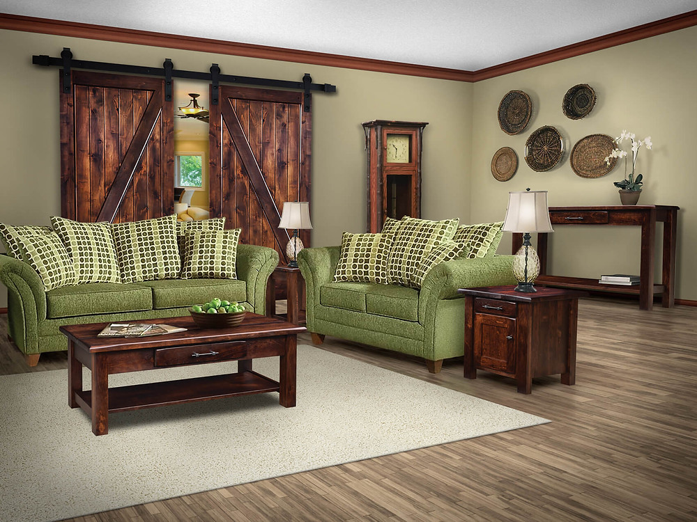 Solid Rustic Cherry Barn Floor Living Room Table Collection inclused coffee table, end table, enclosed end table, console table (or sofa table) hardwood furniture amish furniture made in the usa pittsburgh mills
