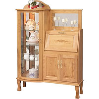 Rectangular Curio with Secretary Desk | 3 adjustable shelves with plate groove, mirror back, clear glass, LED touch light, brass plate with lock, carving in lid | Oak in Natural OCS100 | 44in W x 16in D x 63in H | The Amish Home | Amish Furniture at the Pittsburgh Mills