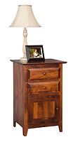 English Shaker 2 Drawer 1 Door Nightstand|Brown Maple in Michaels OCS113|21 1/2in W x 18in D x 32 1/2in H|The Amish Home|Hardwood Furniture at the Pittsburgh Mills