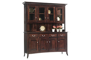 English Shaker 4 Door Hutch | Brown Maple in Rich Tobacco OCS228 | 69in W x 20in D x 81in H | The Amish Home | Amish Furniture at the Pittsburgh Mills