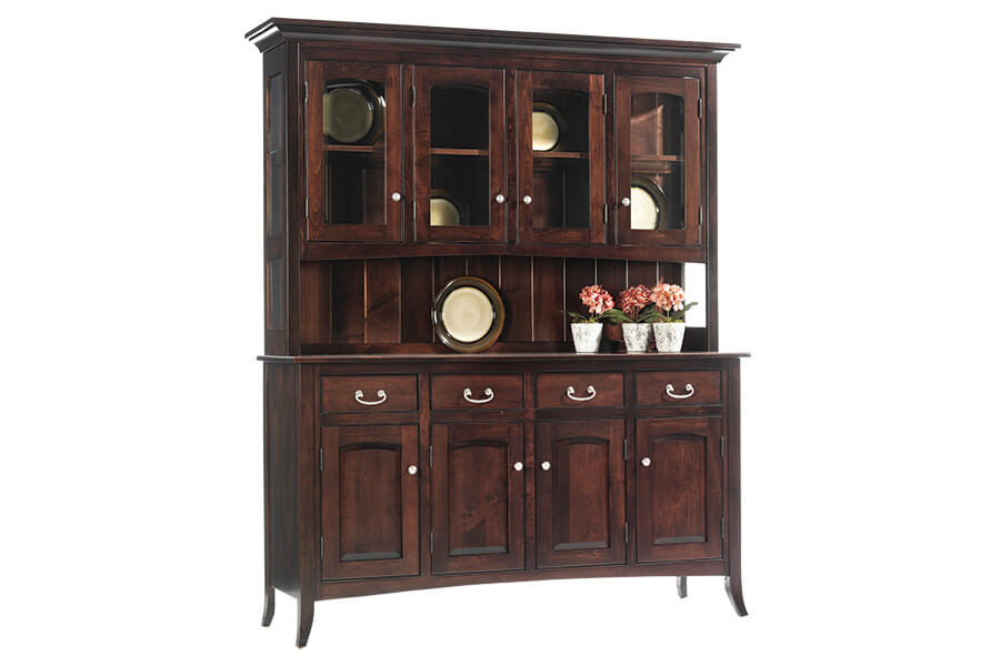 Oversized china cabinet - arched shaker collection four door size in brown maple