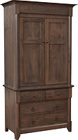 Sanibel Armoire|Rustic Cherry in Cappuccino OCS119|40 3/4in W x 22in D x 78 1/4in H|The Amish Home|Amish Furniture at the Pittsburgh Mills