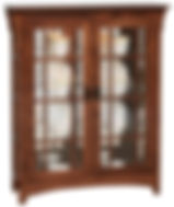 Small Mission Double Door Curio with Mullion Sides|Oak in Asbury OCS117|39 1/2in W x 14in D x 48in H|The Amish Home|Hardwood Furniture at the Pittsburgh Mills