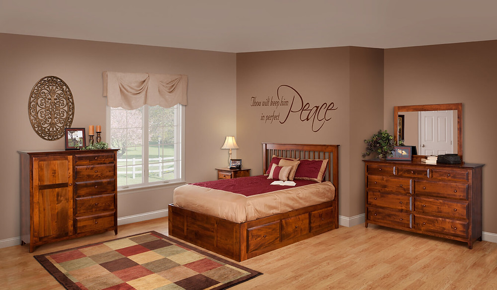English Shaker Bedroom Furniture Collection|English Shaker Spindle Bed wih Underbed Storage Drawers, Mule Dresser with Mirror, 2 Drawer 1 Door nightstand, Man's Chest|Solid Brown Maple in Michaels OCS113|The Amish Home|Amish Furniture at the Pittsburgh Mills