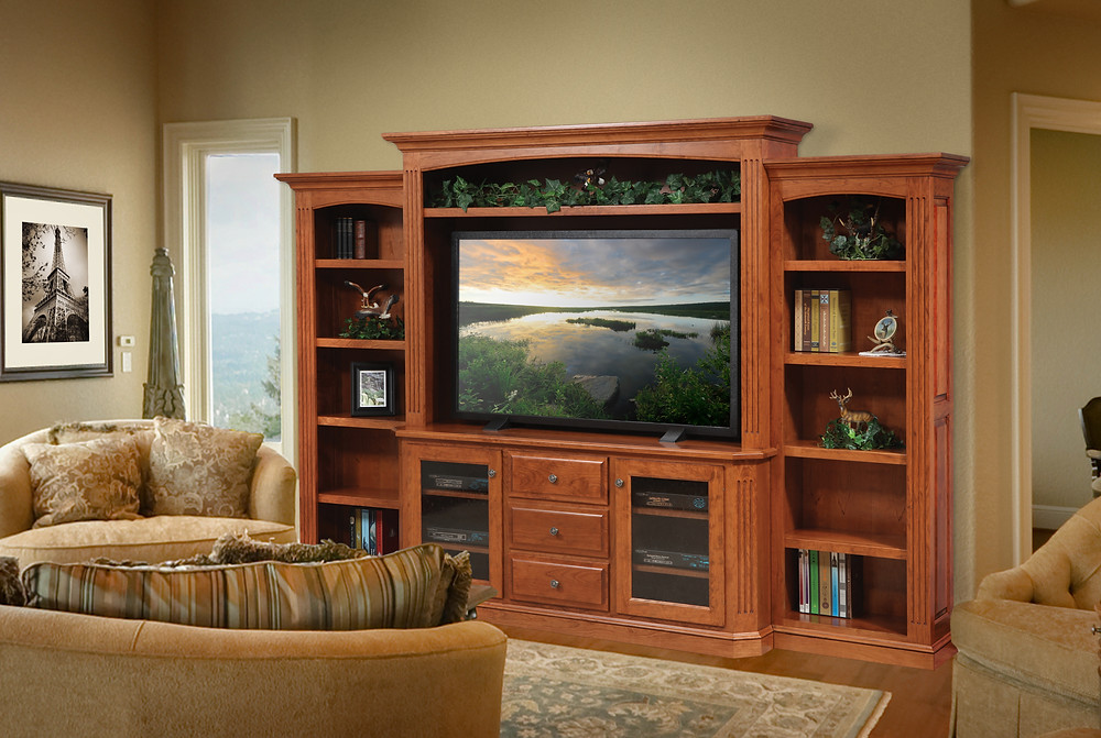 The Lindsey Entertainment Wall with Side Bookcases is shown in cherry