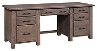 Barn Floor Double Pedestal Desk | Rustic Cherry in Cappuccino OCS119 | 74in W x 24in D x 30 1/2in H | The Amish Home | Amish Furniture at the Pittsburgh Mills
