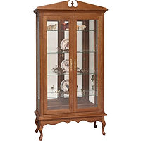 Queen Anne Double Door Curio | 4 adjustable shelves with plate groove, mirror back, clear glass, LED touch light, brass plate with lock | Cherry in Washington OCS107 | 41 1/4in W x 17 1/2in D x 79in H | The Amish Home | Amish Furniture at the Pittsburgh Mills