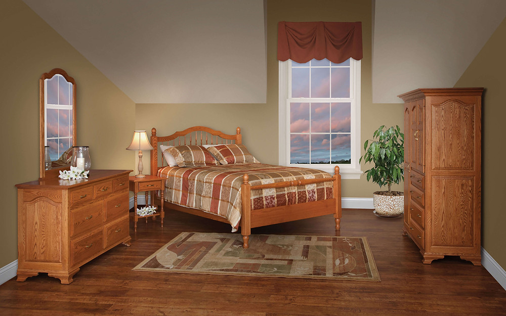 Crown Villa Bedroom Furniture Collection Crown Villa Spindle Bed, 56in Dresser with Mirror, Open Nightstand, Chifforobe Solid Oak in Seely OCS104 The Amish Home Amish Furniture at the Pittsburgh Mills