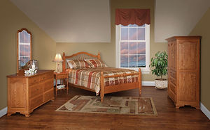 Crown Villa Bedroom Furniture Collection|Crown Villa Spindle Bed, 56in Dresser with Mirror, Open Nightstand, Chifforobe|Solid Oak in Seely OCS104|The Amish Home|Amish Furniture at the Pittsburgh Mills