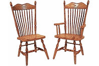 Hoosier Dining Chair|Oak in Fruitwood OCS102 | Shown with Wood Seat.|The Amish Home|Amish Furniture at the Pittsburgh Mills