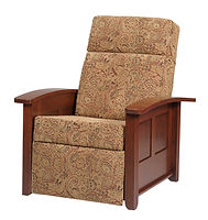 Arlington Recliner | Transitional style with beaded corner trim. Push back recliner, comfortable seating, large foot rest, tapered arm rest, wood panel sides. Available in fabric or leather. | Cherry in Acres OCS106 | 38 1/2in W x 36 1/2in D x 34in H | The Amish Home | Amish Furniture at the Pittsburgh Mills