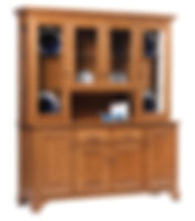 Americana 4 Door Hutch|Oak in Fruitwood OCS102|68in W x 18in D x 79in H|The Amish Home|Amish Furniture at the Pittsburgh Mills