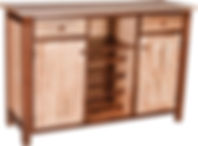 Wine Buffet with 2 drawers, 2 doors, and 2 shelves|Brown Maple in Two-toned|57 1/2in W x 19in D x 39in H|The Amish Home|Amish Furniture at the Pittsburgh Mills