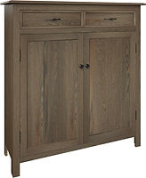 Oakdale Pie Safe with two doors and two drawers | with two adjustable shelves | Rustic Quartersawn White Oak in Smoke OCS121 | 48in W x 16in D x 51in H | The Amish Home | Amish Furniture at the Pittsburgh Mills