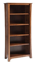 Woodbury Bookcase | Solid wood, adjustable shelves (3 shelves in 60in H sizes, 4 shelves in 72in H sizes). Tounge & groove shelving for extra strength. Corner posts are designed with curved detail. Arched bottoms on front & sides. | Brown Maple in Asbury OCS117 | Many Sizes Available | The Amish Home | Amish Furniture at the Pittsburgh Mills