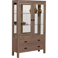Lillie Curio | 2 adjustable glass shelves with plate groove, dovetail drawers with full extension slides, mirror back, clear glass, LED touch lighting, no lock | Brown Maple in Cappuccino OCS119 | 45in W x 15in D x 73in H | The Amish Home | Amish Furniture at the Pittsburgh Mills