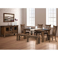 Orland Park Dining Room Furniture Collection|Rustic style with heavy beam corner posts and double-thick table top. Expandable plank table with breadboard ends, chairs with lumbar support, bench with leaves, and server with wine rack, 2 doors, and 3 drawers.|Solid Brown Maple in L.O.|The Amish Home|Amish Furniture at the Pittsburgh Mills