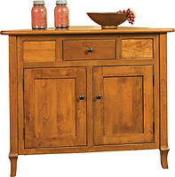 Jacob Martin Corner Buffet|Rustic Cherry in Seely OCS104|42in W x 21 1/2in D x 35in H, 30 1/2in wall space|The Amish Home|Amish Furniture at the Pittsburgh Mills