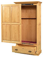 Wooden Sliding Door 8 Gun Cabinet|Oak in MX OCS103|39 1/2in W x 14 3/4in D x 72 1/2in H|The Amish Home|Amish Furniture at the Pittsburgh Mills