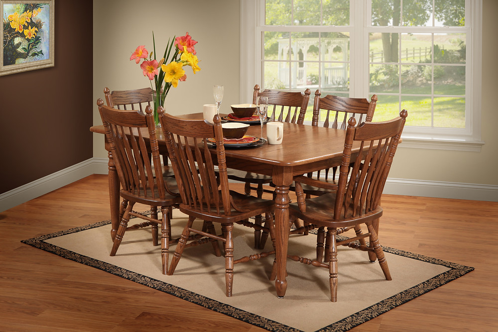 Our Country Leg Table is shown in oak