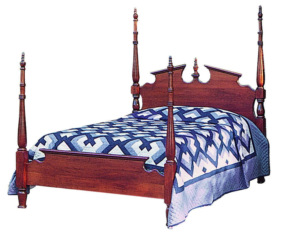 Poster bed with reeding and pediment