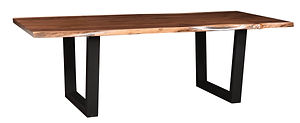 Abbington Live Edge Dining Table on Metal Base|Walnut Live Edge in Natural OCS100|Many Sizes Available|The Amish Home|Amish Furniture at the Pittsburgh Mills