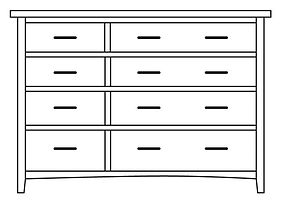 Choices 8 Drawer Dresser| in |48in W x 21in D x 45in H|The Amish Home|Amish Furniture at the Pittsburgh Mills
