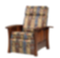 Woodbury Recliner | Push back recliner, comfortable seating, large foot rest, tapered arm rest, wood panel sides. Available in fabric or leather. | Brown Maple in Asbury OCS117 | 33in W x 37 1/4in D x 41 1/2in H | The Amish Home | Amish Furniture at the Pittsburgh Mills