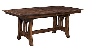 Mason Trestle Table | Shown with boat top, eased edge. Butterfly leaf available. | Brown Maple in Asbury OCS117 | Many Sizes Available | The Amish Home | Amish Furniture at the Pittsburgh Mills