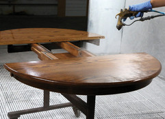 How do the Amish finish furniture?