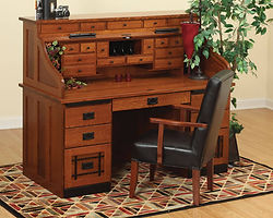 Mission Roll Top Desk with Drawers on Top|Quartersawn White Oak in Michaels OCS113|62in W x 30in D x 51 1/2in H|The Amish Home|Amish Furniture at the Pittsburgh Mills