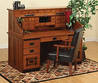 David's Mission 62in Roll Top Desk with Drawers on Top | Quartersawn White Oak in Michaels OCS113 | 62in W x 30in D x 51 1/2in H | The Amish Home | Amish Furniture at the Pittsburgh Mills