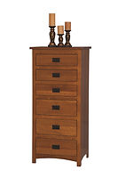 Michael's Mission Lingerie Chest | Quartersawn White Oak in Michaels OCS113 | 26in W x 19 3/4in D x 56 1/2in H | The Amish Home | Amish Furniture at the Pittsburgh Mills