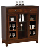Hampton Meadow Small China Cabinet|Brown Maple in Rich Tobacco OCS228|45in W x 18 1/2in D x 49in H|The Amish Home|Amish Furniture at the Pittsburgh Mills