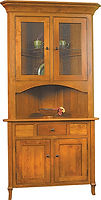 Jacob Martin Corner Hutch|Rustic Cherry in Seely OCS104|42in W x 21 1/2in D x 85 3/4in H, 30 1/2in wall space|The Amish Home|Amish Furniture at the Pittsburgh Mills
