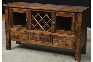 Orland Park Server | 2 glass doors, wine rack, 3 drawers | Brown Maple in L.O. | 60in W x 19 1/4in D x 35in H | The Amish Home | Amish Furniture at the Pittsburgh Mills