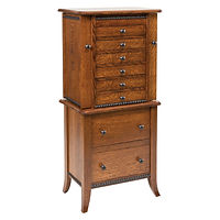 Bunker Hill Jewelry Armoire | 8 drawers, 1 with ring bar, 3 with wooden dividers, 3 with velvet bottom, side wings with 8 jewelry hooks each. Full extension drawer slides. | Quartersawn White Oak in Asbury OCS117 | 20 1/2in W x 13 1/4in D x 48in H | The Amish Home | Amish Furniture at the Pittsburgh Mills