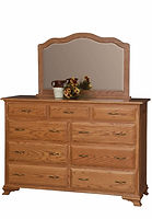 Crown Villa Mule Dresser & Mirror|Oak in Seely OCS104|63in W x 23in D x 43 1/2in H|The Amish Home|Hardwood Furniture at the Pittsburgh Mills