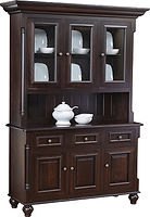 European 3 Door Hutch|Brown Maple in Onyx OCS230|62 1/2in W x 20in D x 85in H|The Amish Home|Amish Furniture at the Pittsburgh Mills