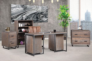 Capri Office Furniture Collection|Industrial Style desk with metal base, file cabinet with metal base, lateral file cabinet with metal base, bookcase with metal base|Solid Oak in Antique Salte OCS118|The Amish Home|Amish Furniture at the Pittsburgh Mills
