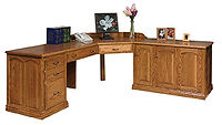 Ray's Executive Deluxe L-Desk | Oak in Fruitwood OCS102 | 89 1/2in left side x 85in right side x 24in D x 30in H | The Amish Home | Amish Furniture at the Pittsburgh Mills