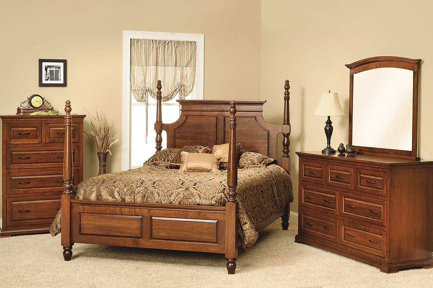 Wilkshire Bedroom Furniture Collection Queen four poster bed, dresser with mirror, chest of drawers Solid Rustic Cherry in Boston OCS111 The Amish Home Amish Furniture at the Pittsburgh Mills